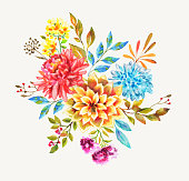 beautiful watercolor flowers for design of invitation, books, cards, postcard, flyers, cover of mobil