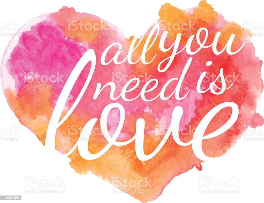 Beautiful watercolor heart with quotes love Vector royalty free stock vector art