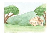 Beautiful watercolor landscape with country house on green plain and hill, trees around old home, drawn by watercolour, vector illustration