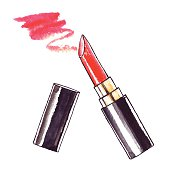 Beautiful Lipstick. Hand drawn watercolor vector. Beauty  illustration.