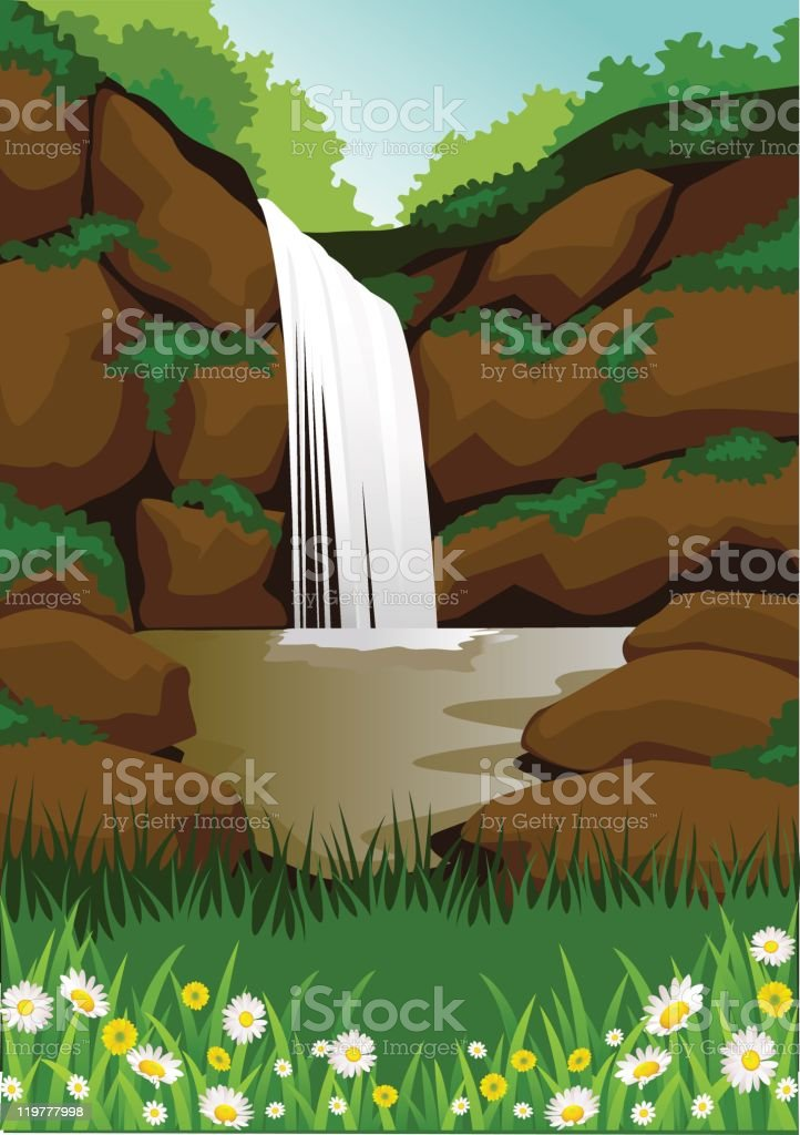 Beautiful waterfall royalty-free beautiful waterfall stock vector art & more images of backgrounds