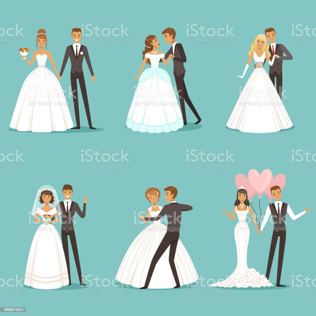 Beautiful wedding couple characters. Bride and groom vector art illustration