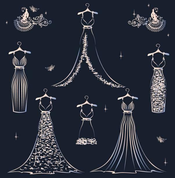 schöne hochzeit kleid set - couture stock-grafiken, -clipart, -cartoons und -symbole