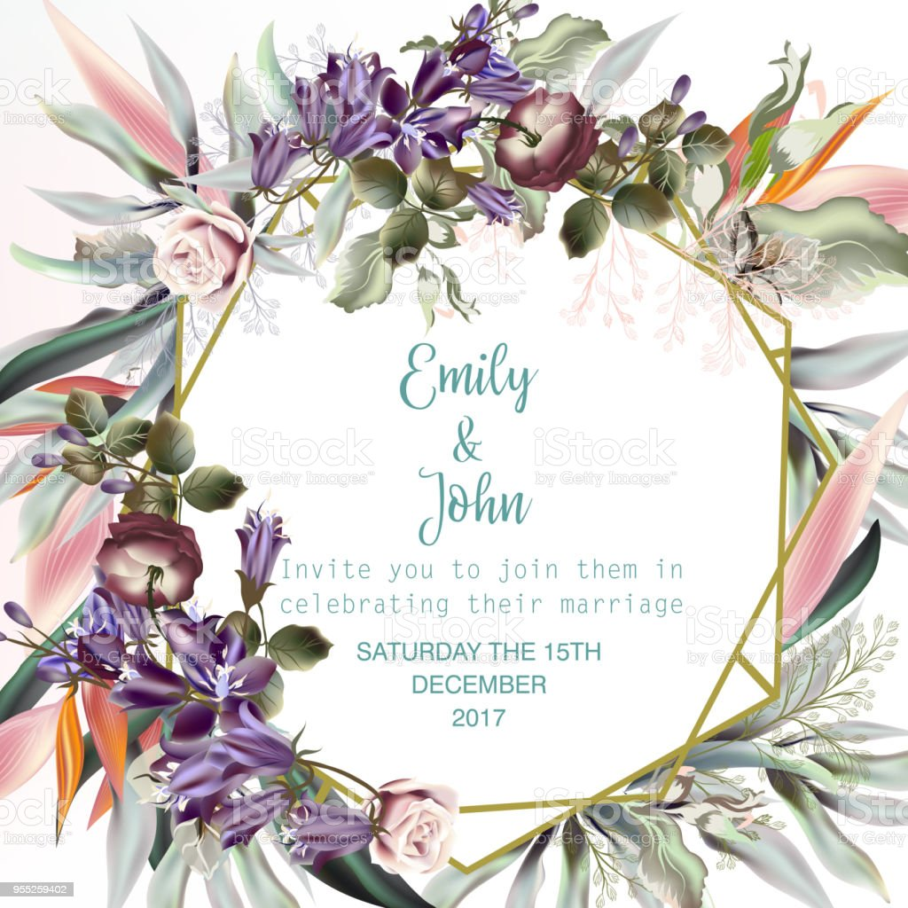 Beautiful Wedding Invitation Card Or Save The Date With Peach Roses ...