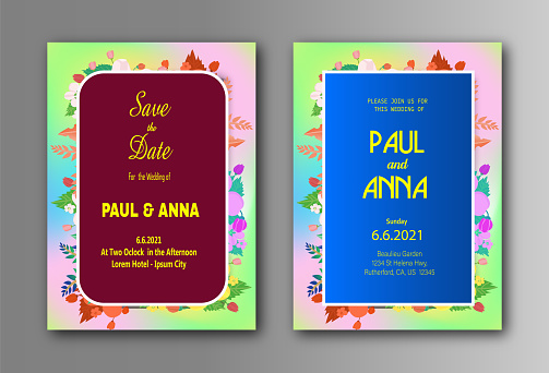 Beautiful wedding invitation card with colorful floral