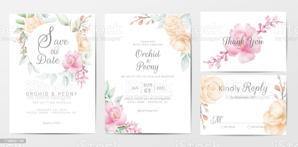 Beautiful Wedding Invitation Cards Template Set Of Watercolor