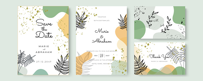 Beautiful wedding invitation template with hand drawn floral and leaves