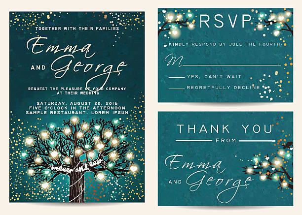 beautiful wedding set, decorated with fairy tree. vintage invita - light through trees stock illustrations