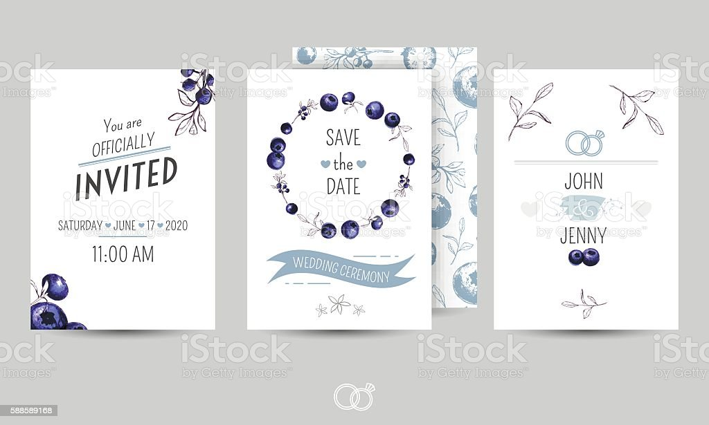 Adult Anniversary Backgrounds Blue Blueberry Beautiful Wedding Templates