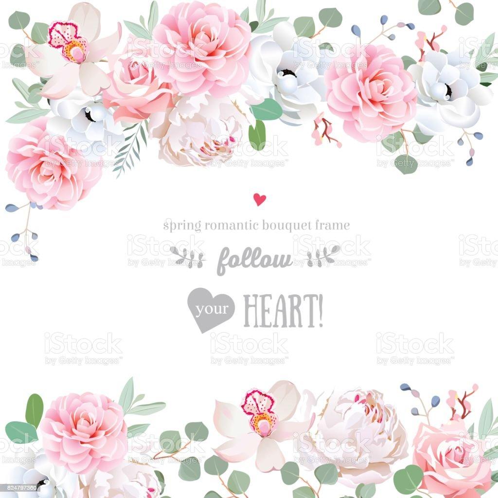 Schone Hochzeitvektordesignrahmen Mit Blumen Stock Vektor Art Und