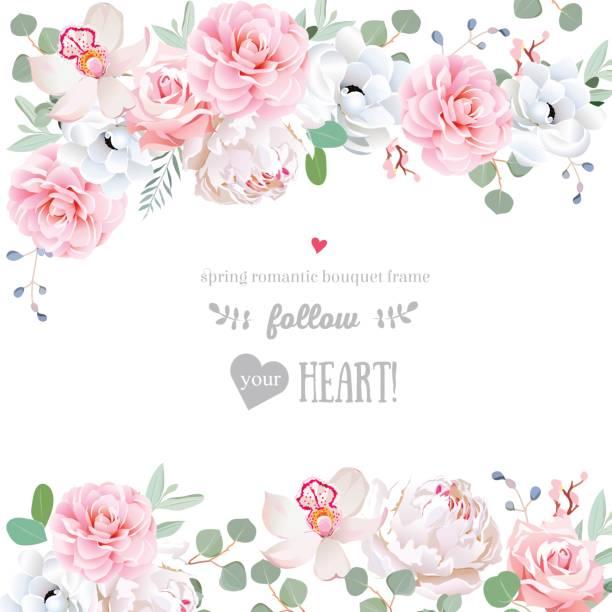 Beautiful wedding vector design frame with flowers vector art illustration