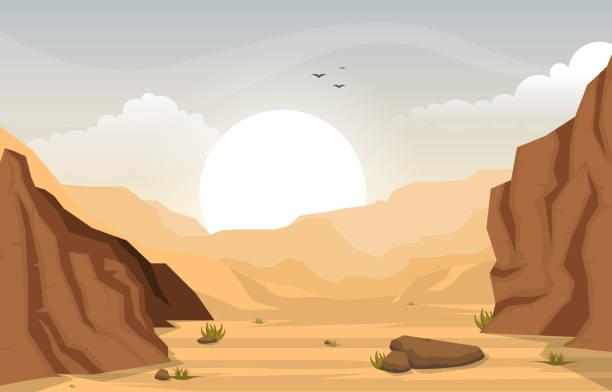 schöne westliche wüste landschaft mit sky rock cliff mountain vector illustration - wüste stock-grafiken, -clipart, -cartoons und -symbole
