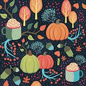 Beautiful whimsical autumn seamless pattern. Vector illustration.