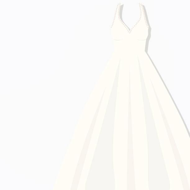 schöne weiße briding kleid vektor illustration abendkleid abendkleid - langhaarspitzen stock-grafiken, -clipart, -cartoons und -symbole