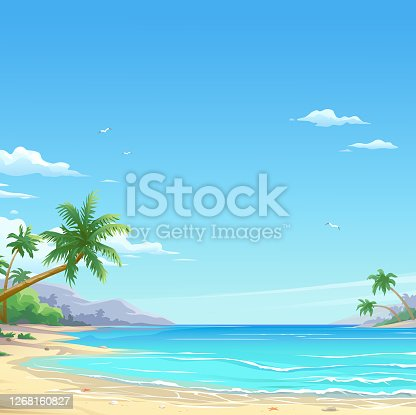 Vector illustration of a beautiful white sand beach with palm trees and a cloudy deep blue sky in the background. Illustration with space for text.