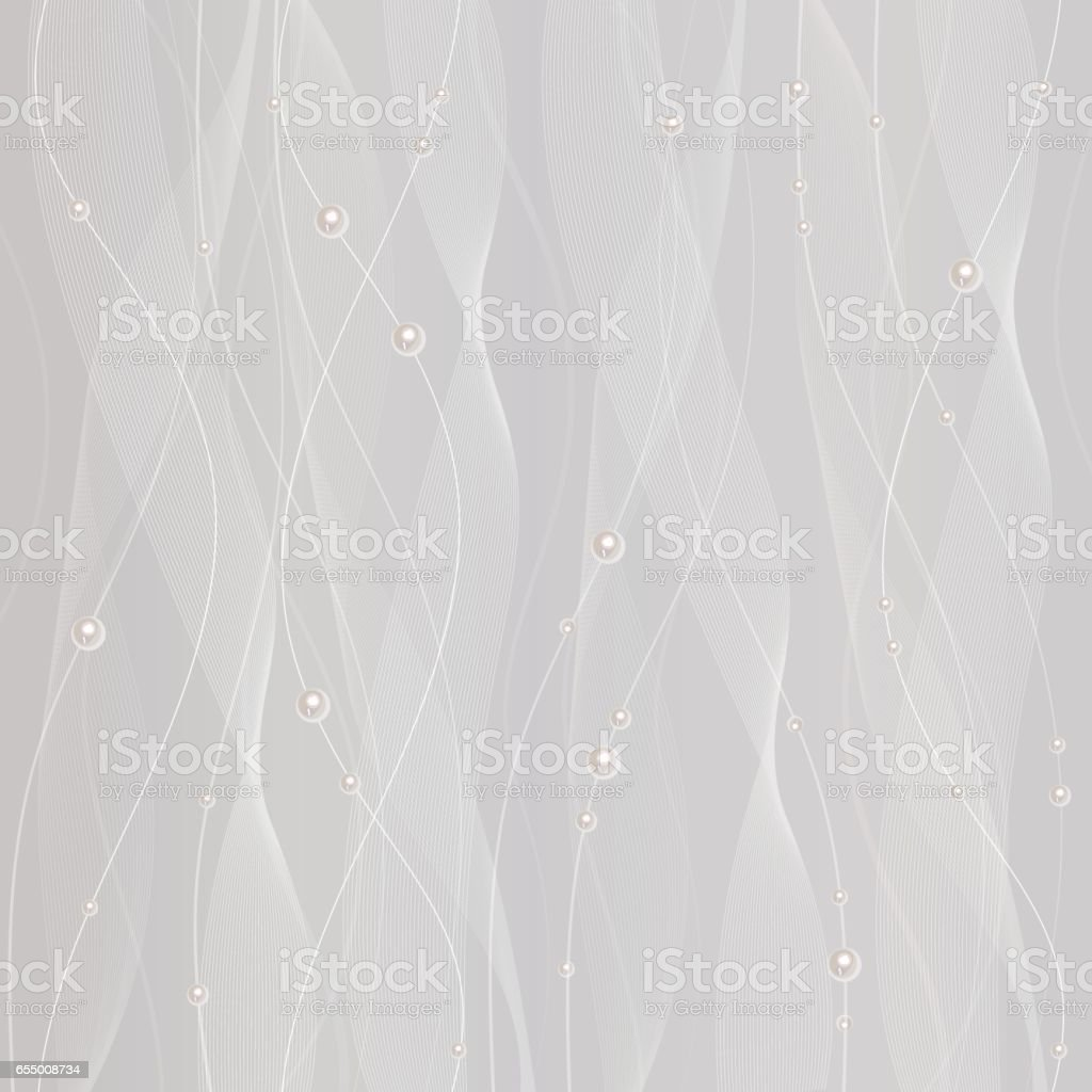 Beautiful white tulle with pearls vector art illustration