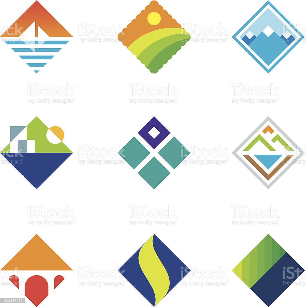 Beautiful wild landscape square window view simple logo icon set vector art illustration