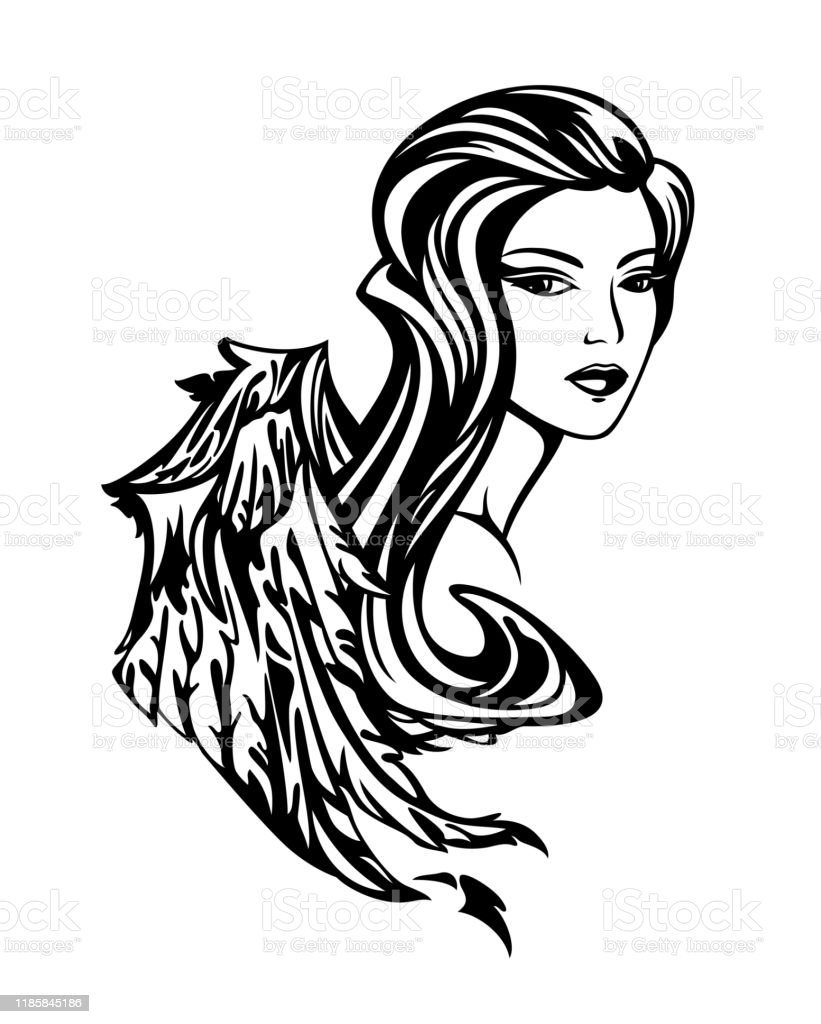 Beautiful Winged Goddess Woman Black And White Vector Outline Stock Illustration Download Image Now Istock