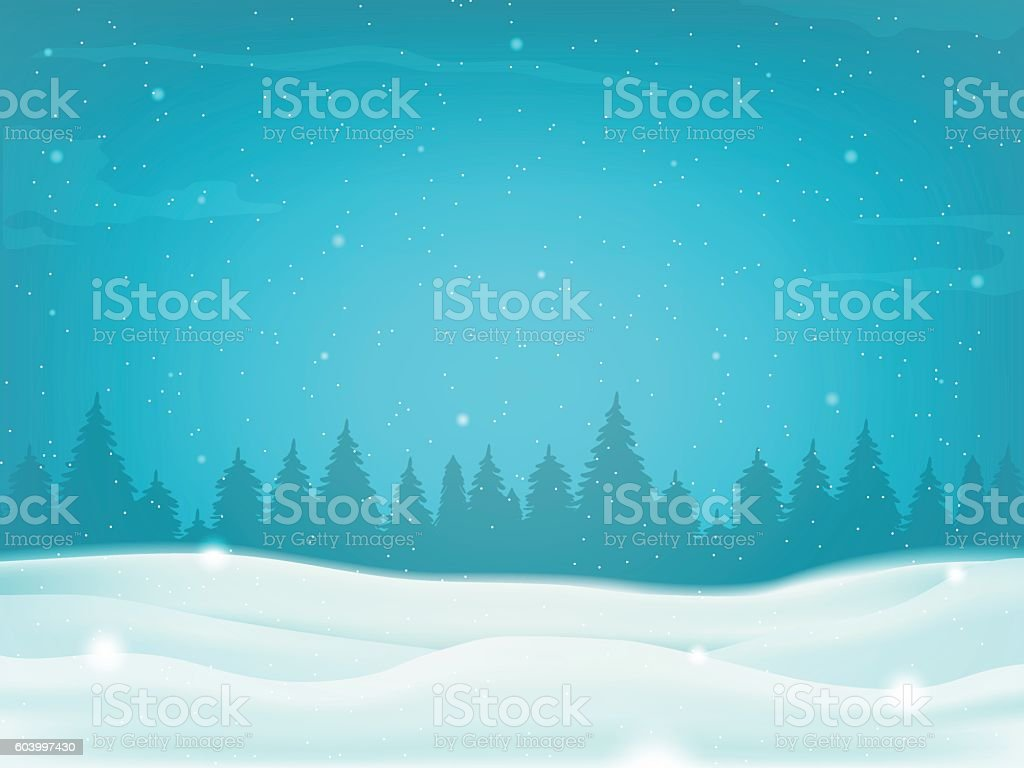 Beautiful winter landscape background with winter tree silhouette. Vector vector art illustration