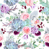 Seamless vector design pattern arranged from pink rose, violet carnation, bell flower, echeveria succulent, plum orchid, brunia, eucalyptus greenery. Beautiful floral print. All elements are isolated