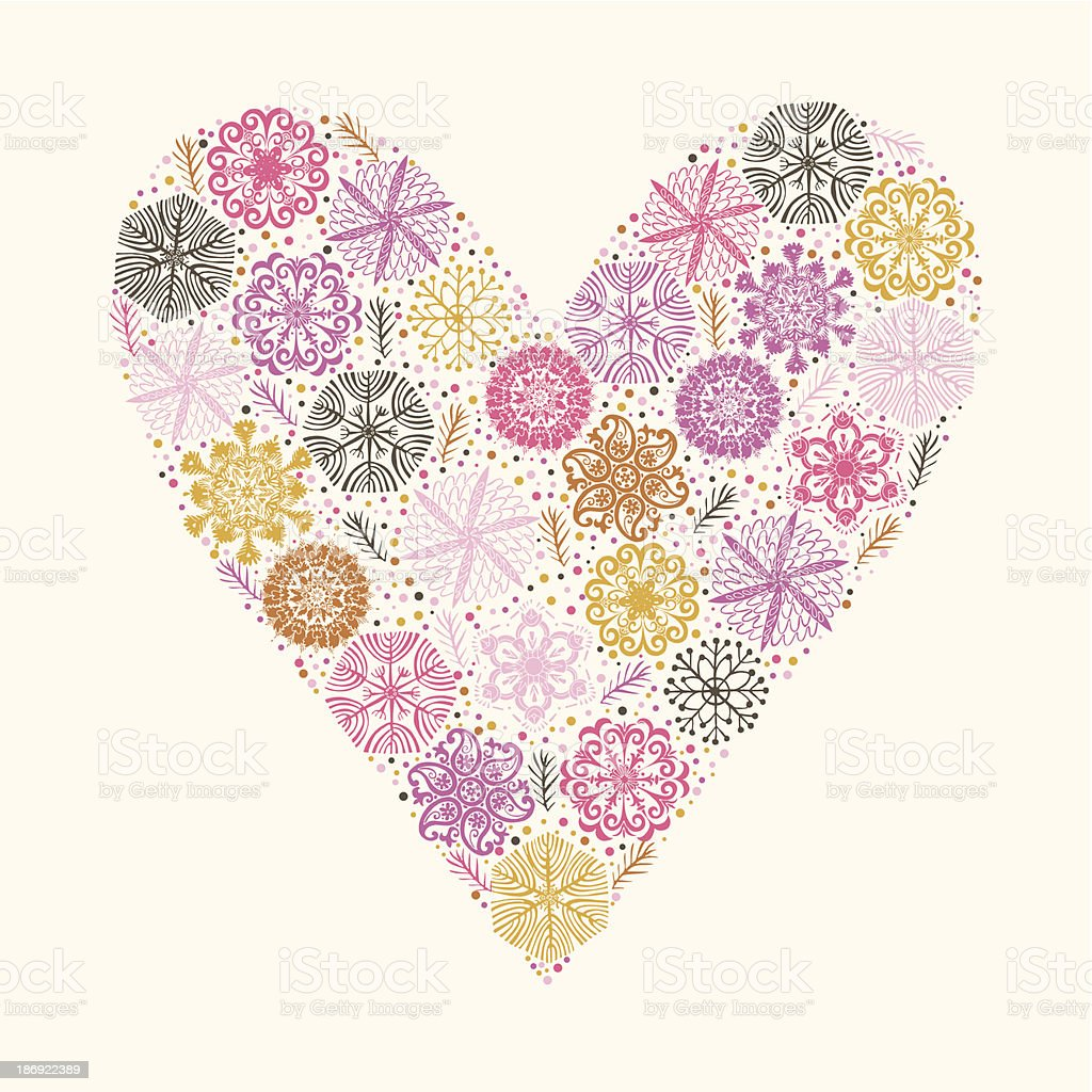 Beautiful winter snowflakes in a heart design royalty-free stock vector art