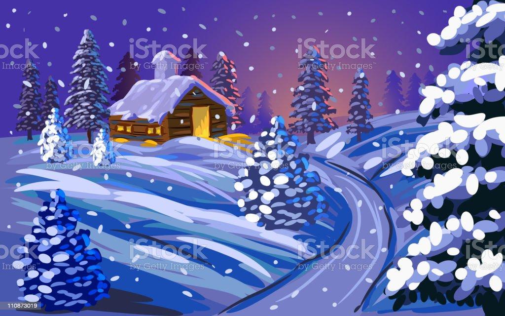 Beautiful Winter/Christmas landscape royalty-free stock vector art