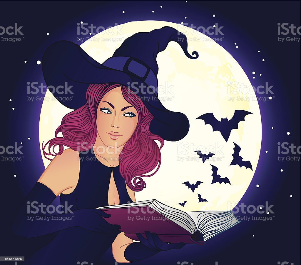 Beautiful witch holding a magic book royalty-free beautiful witch holding a magic book stock vector art & more images of adult