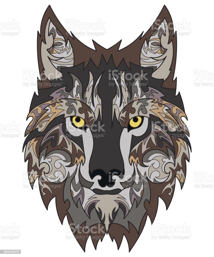 Schöne Wolf Tattoo Vektorwolfskopf Als Gestalterisches Element Auf ...