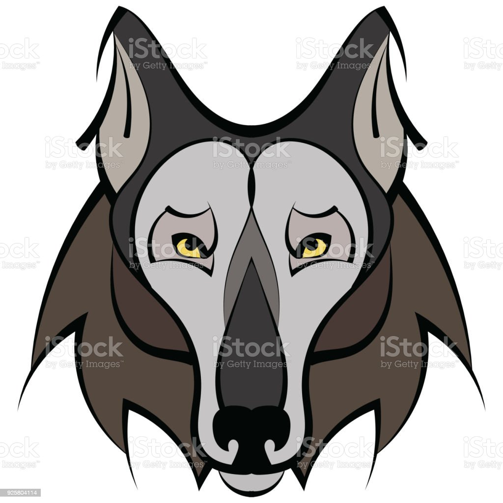 Ilustración De Tatuaje De Lobo Hermoso Cabeza De Lobo Del Vector
