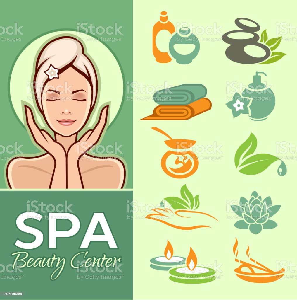 Beautiful woman and spa icons set vector art illustration