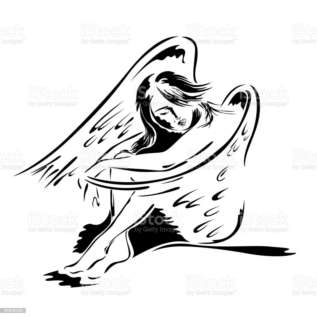 Beautiful woman angel in sitting posture vector art illustration