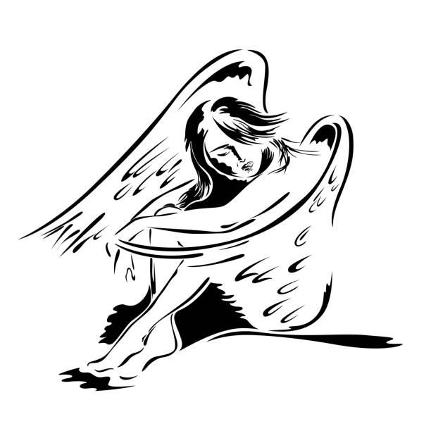ilustraciones, imágenes clip art, dibujos animados e iconos de stock de angel hermosa mujer en postura de sentado - tatuajes de ángeles