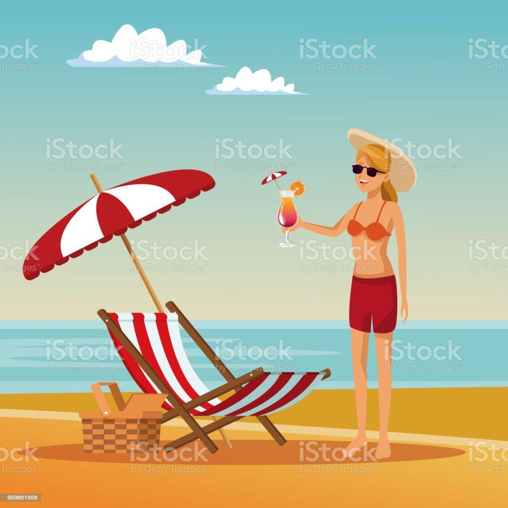 Hermosa mujer en la playa - arte vectorial de Adulto libre de derechos