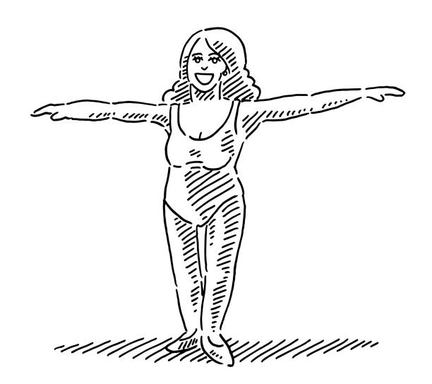 Beautiful Woman Ballet Dancer Standing Drawing Hand-drawn vector drawing of a Beautiful Woman Ballet Dancer Standing. Black-and-White sketch on a transparent background (.eps-file). Included files are EPS (v10) and Hi-Res JPG. women stock illustrations