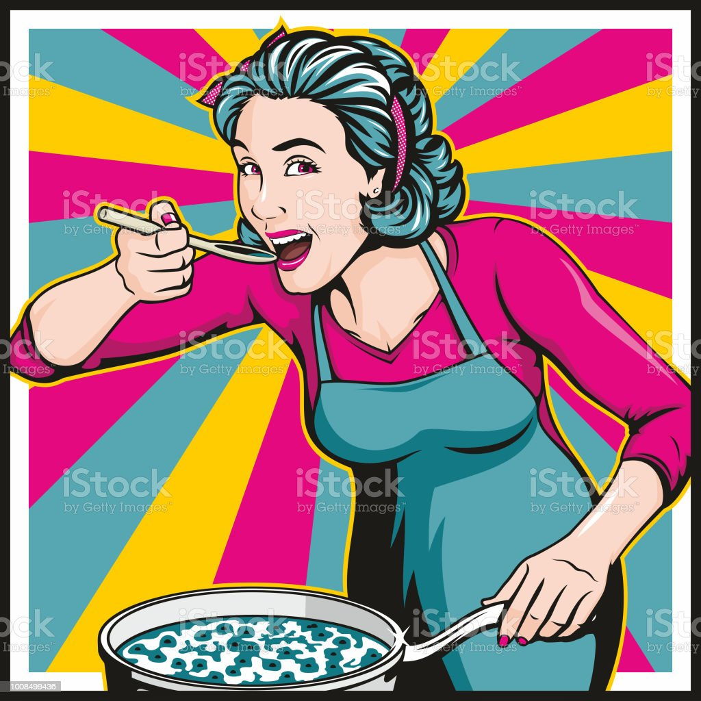 Beautiful Woman Cooking vector art illustration