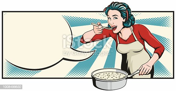 Pretty woman is cooking and tasting her delicious food. Retro style pop art illustration with an empty speech bubble for your text. Speech bubble is easily removable in vector format.