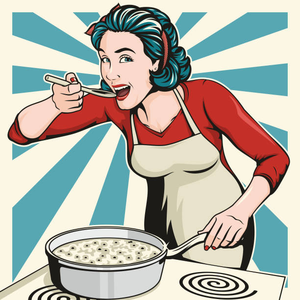 beautiful woman cooking - woman cooking stock illustrations