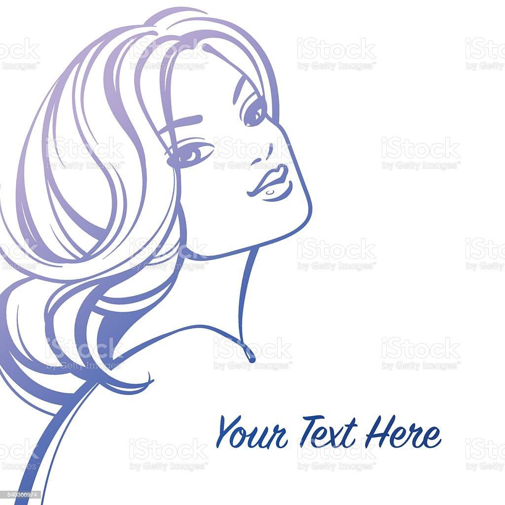Beautiful woman decorative portrait vector art illustration