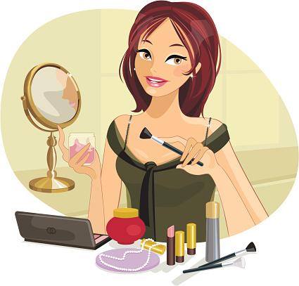 Beautiful Woman doing her Make-up
