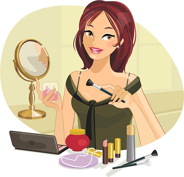 Bella donna facendo il Make-up - illustrazione arte vettoriale