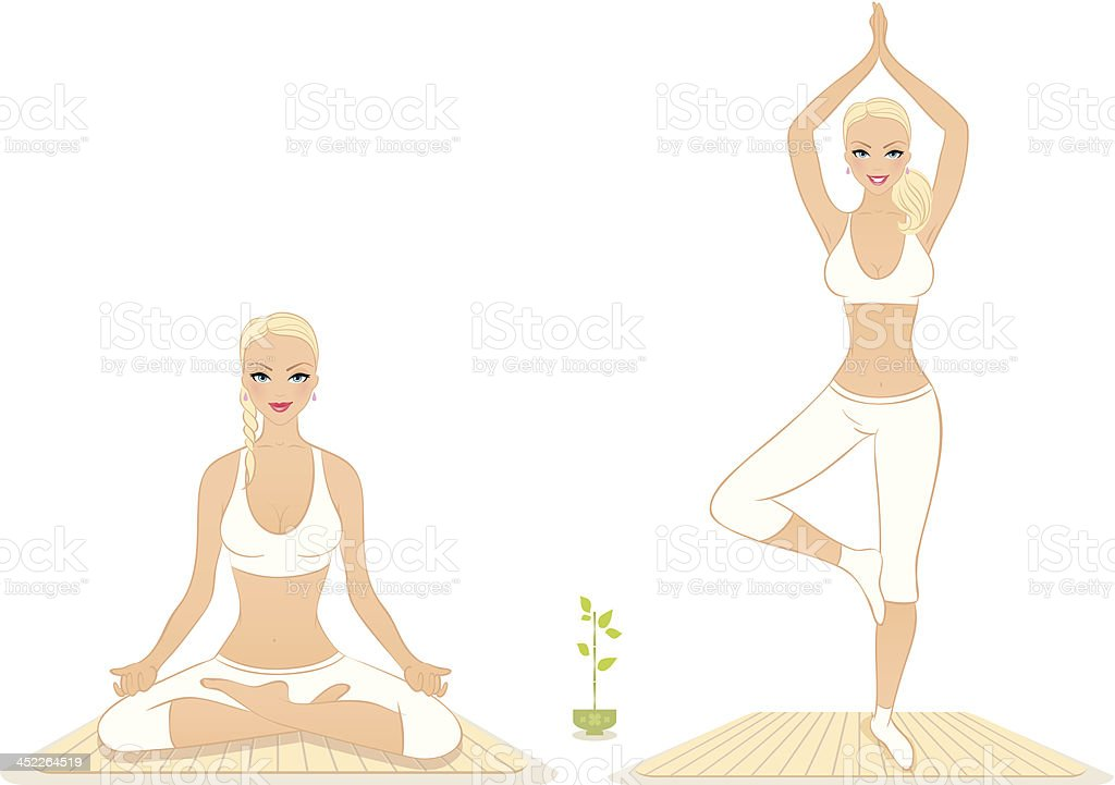 Beautiful woman doing youga exercises royalty-free stock vector art