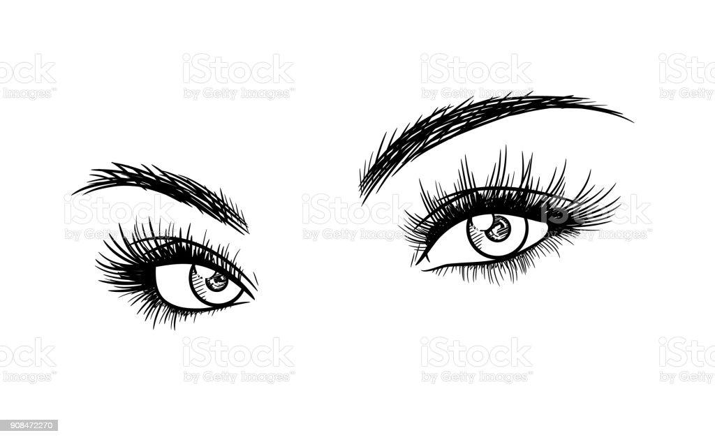 Skizzieren Sie schöne Frau Augen mit Wimpern Extensions – Vektorgrafik