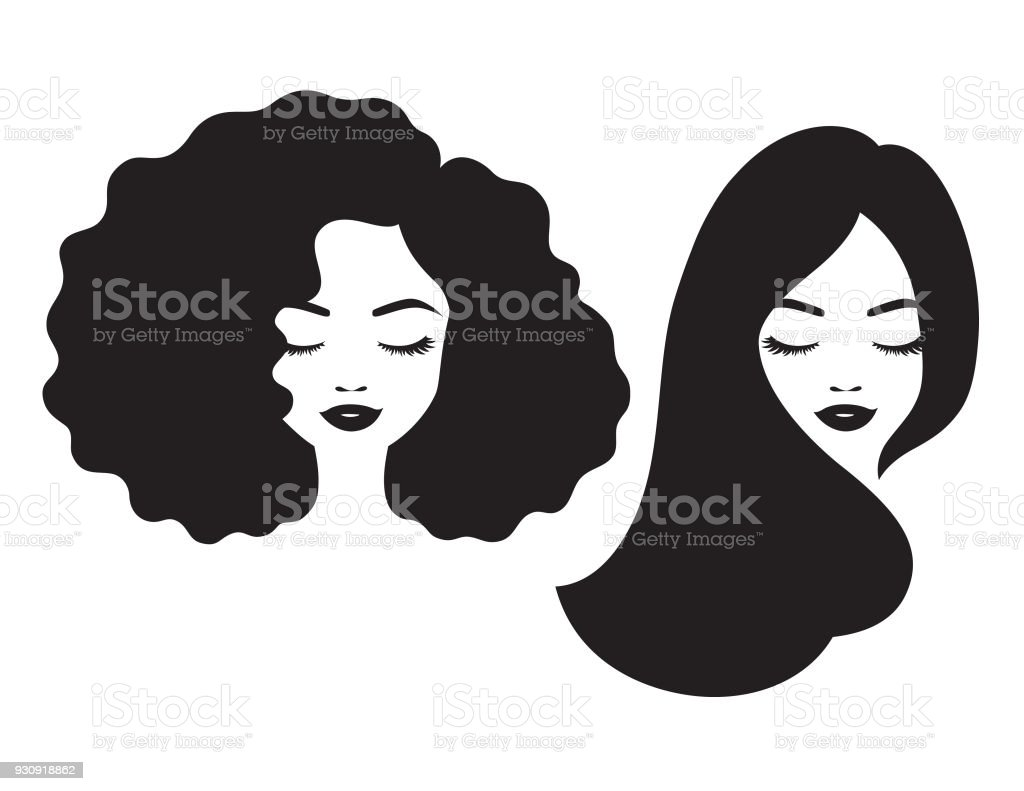 Beautiful Woman Face and Hair Silhouette Vector Illustration vector art illustration