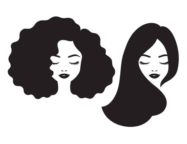 Beautiful Woman Face and Hair Silhouette Vector Illustration - ilustração de arte vetorial