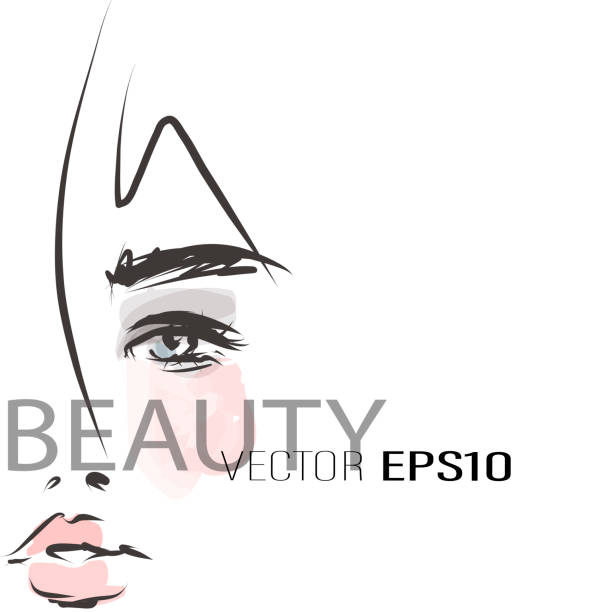 Beautiful woman face. Hand-drawn illustration. Beauty industry, make-up Sketch, vector beautiful woman stock illustrations