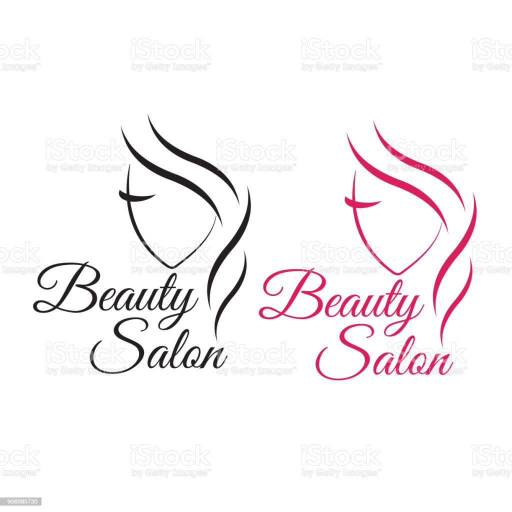beautiful woman face logo template for hair salon logo