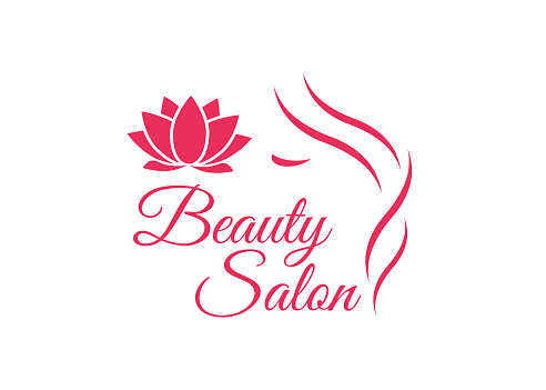 beautiful woman face logo template for hair salon logo
