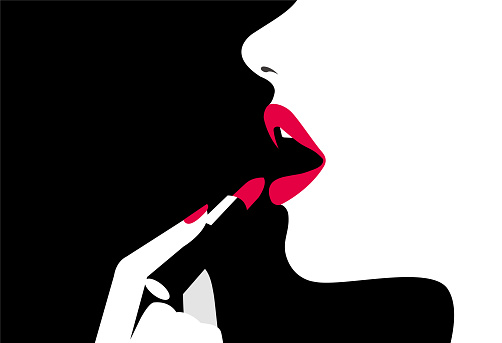 Beautiful woman face side view and a hand with lipstick on black background. Trendy background. Beauty backdrop. Cosmetic background. Vector.