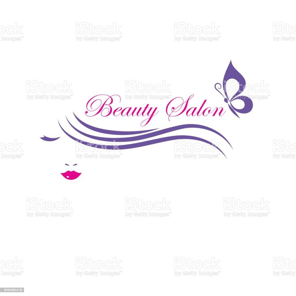 Beautiful woman face vector logo template for hair salon, beauty salon, cosmetic procedures, spa center