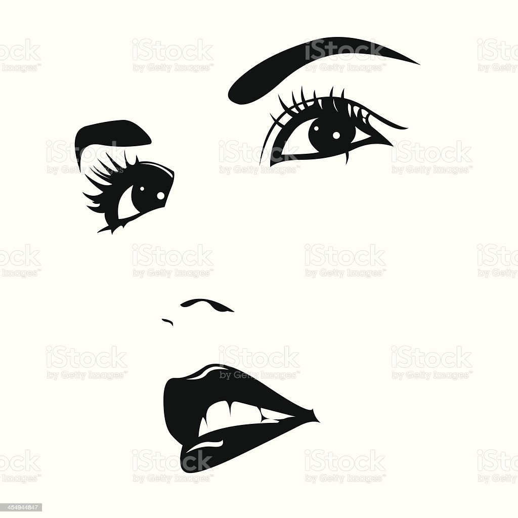 Beautiful woman face vector vector art illustration